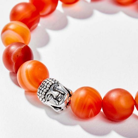 Vòng tay đá mã não đỏ nhám phối charm phật bạc 10mm mệnh hỏa, thổ - Ngọc Quý Gemstones