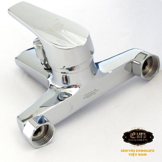 Củ sen nóng lạnh chân ngoài Đồng mạ Chrome Eurolife EL-3001-New (Trắng bạc)