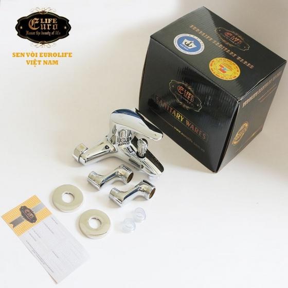 Củ sen nóng lạnh chân ngoài Đồng mạ Chrome Eurolife EL-6001-New (Trắng bạc)