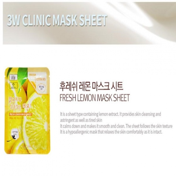 Bộ 5 mặt nạ 3w clinic fresh lemon mask sheet  23ml x 5