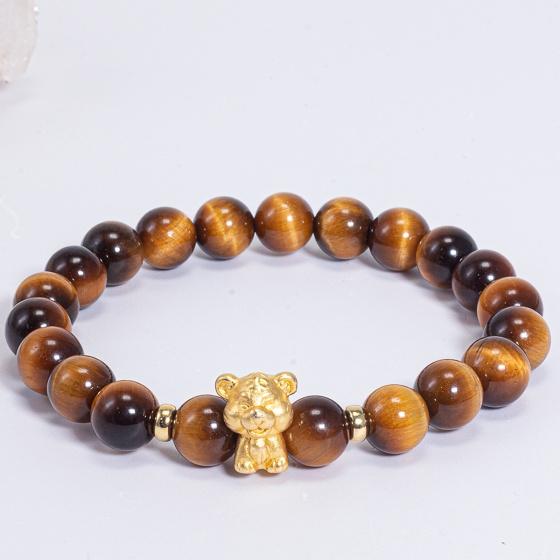 Hình ảnh Vòng tay phong thủy đá mắt hổ charm tuổi Dần bạc mạ vàng 24k 8mm mệnh Thổ, Kim - Ngọc Quý Gemstones