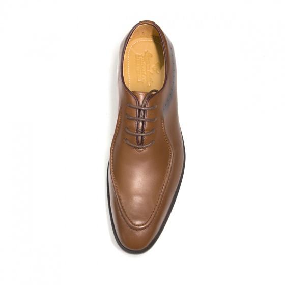 Giày tây nam màu nâu buộc dây - Giày da bò chính hãng Geleli