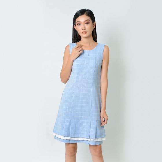 Đầm suông thời trang Eden caro xếp li màu xanh - D362