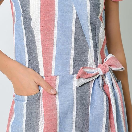 Đầm công sở thời trang Eden cổ tim đắp chéo phối nơ sọc đỏ xanh - D363