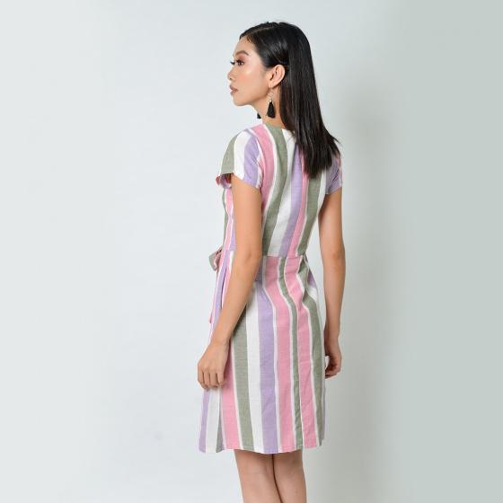 Đầm công sở thời trang Eden cổ tim đắp chéo phối nơ sọc tím hồng - D363