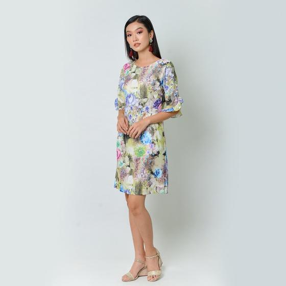 Đầm suông thời trang Eden tay cách điệu in họa tiết màu xanh - D367