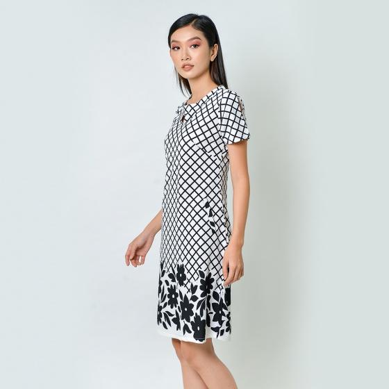 Đầm suông thời trang Eden màu trắng đen - D368