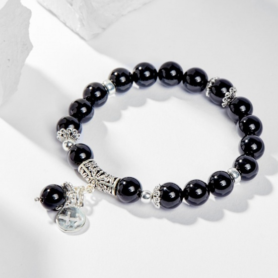 Vòng tay 12 cung hoàng đạo đá obsidian phối charm cung Nhân Mã 8mm - Ngọc Quý Gemstones