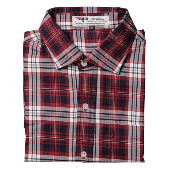 Áo sơ mi nam Caro ngắn tay cao cấp chuẩn phong cách Pigofashion SMCR14 sọc đỏ