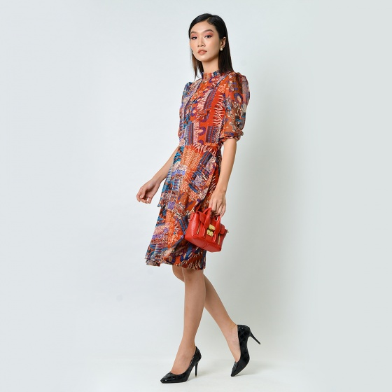 Đầm xòe thời trang Eden họa tiết tay lỡ màu đỏ - D369