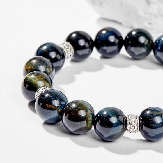 Vòng tay đá mắt hổ xanh đen phối charm tỳ hưu 10mm mệnh thủy, mộc - Ngọc Quý Gemstones