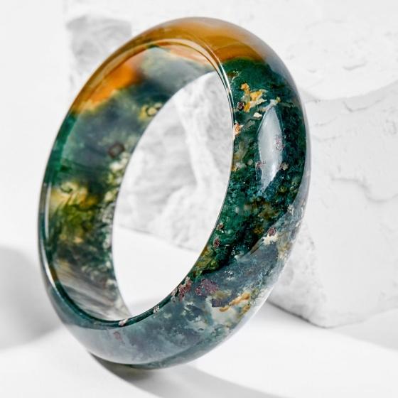 Vòng tay phong thủy đá băng ngọc thủy tảo huyết 50mm mệnh hỏa, mộc - Ngọc Quý Gemstones
