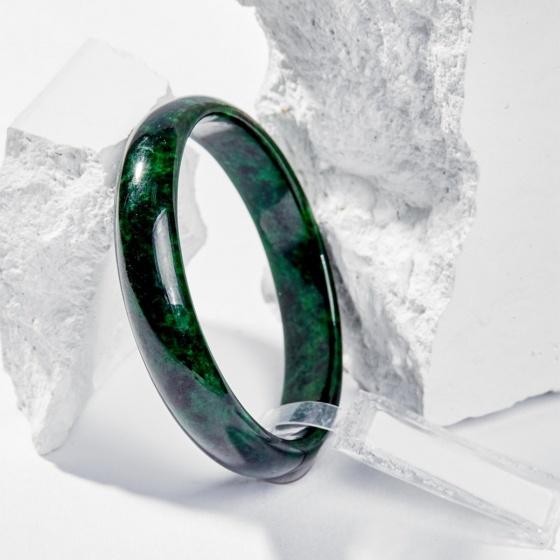Vòng tay phong thủy đá cẩm thạch sơn thủy nguyên khối 50mm kiểm định pnj mệnh hỏa , mộc - Ngọc Quý Gemstones