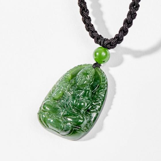 Dây chuyền phong thủy đá ngọc bích đại thế chí bồ tát tuổi ngọ 3x2cm mệnh hỏa , mộc - Ngọc Quý Gemstones