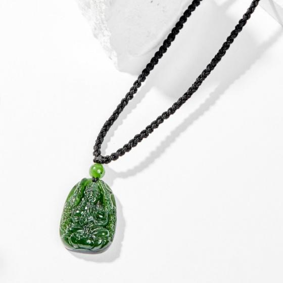 Dây chuyền phong thủy đá ngọc bích thiên thủ thiên nhãn tuổi tý 3x2cm mệnh hỏa , mộc - Ngọc Quý Gemstones
