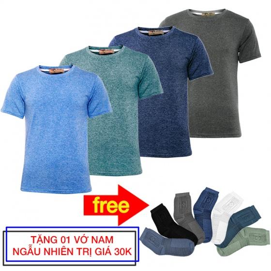 Siêu đẹp Gymer - combo 4 áo thun nam cổ tròn tập GYM thể thao Pigofashion GM02 tặng đôi vớ- màu ngẫu nhiên