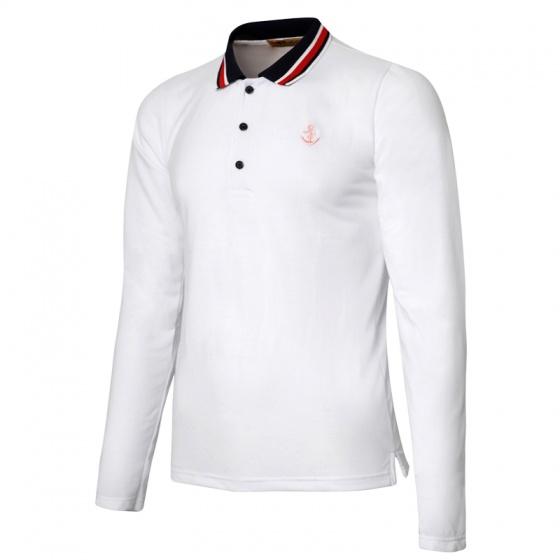 Áo thun nam polo phối bo dài tay chuẩn phong cách Pigofashion PG17 màu trắng