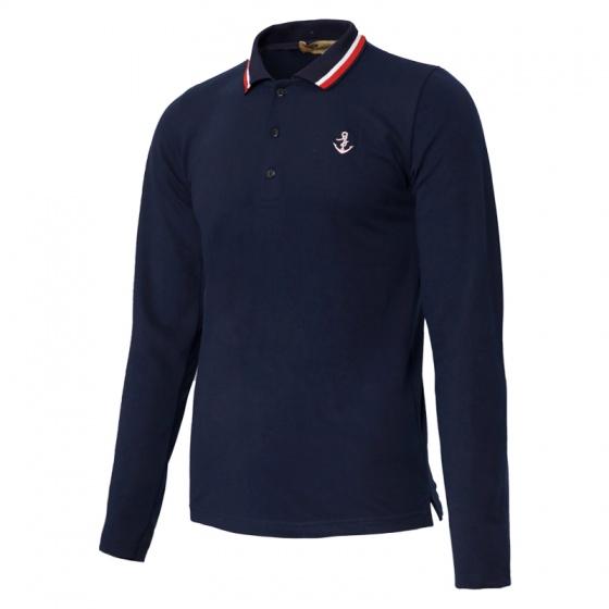 Áo thun nam polo phối bo dài tay chuẩn phong cách Pigofashion PG17 màu xanh đen