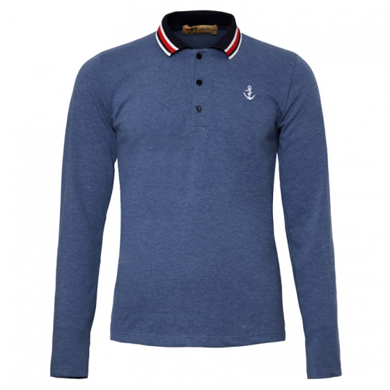 Áo thun nam polo phối bo dài tay chuẩn phong cách Pigofashion PG17 màu xanh vịt