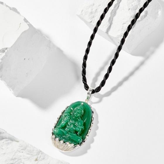 Dây chuyền phong thủy đá ngọc tủy xanh đại thế chí bồ tát tuổi ngọ 4x2.5cm mệnh mộc - Ngọc Quý Gemstones