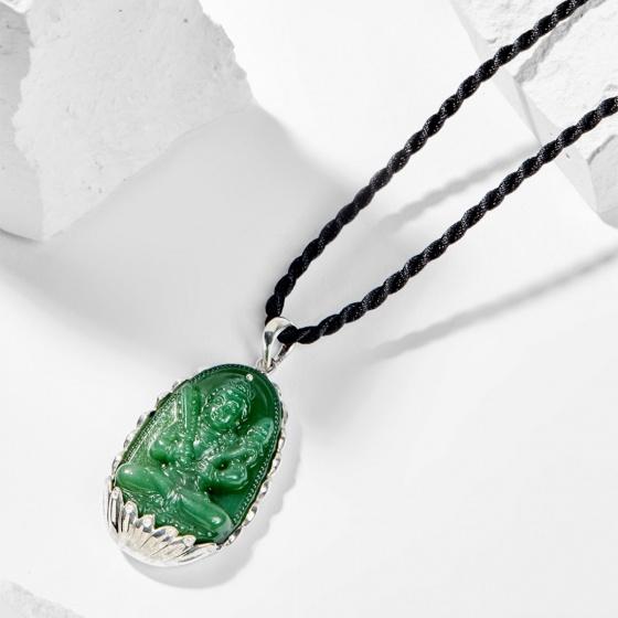 Dây chuyền phong thủy đá ngọc tủy xanh hư không tạng bồ tát tuổi sửu , dần 4x2.5cm mệnh mộc - Ngọc Quý Gemstones