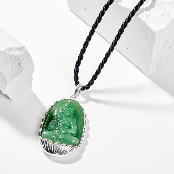 Dây chuyền phong thủy đá ngọc tủy xanh phật a di đà tuổi tuổi tuất , hợi 4x2.5cm mệnh mộc - Ngọc Quý Gemstones