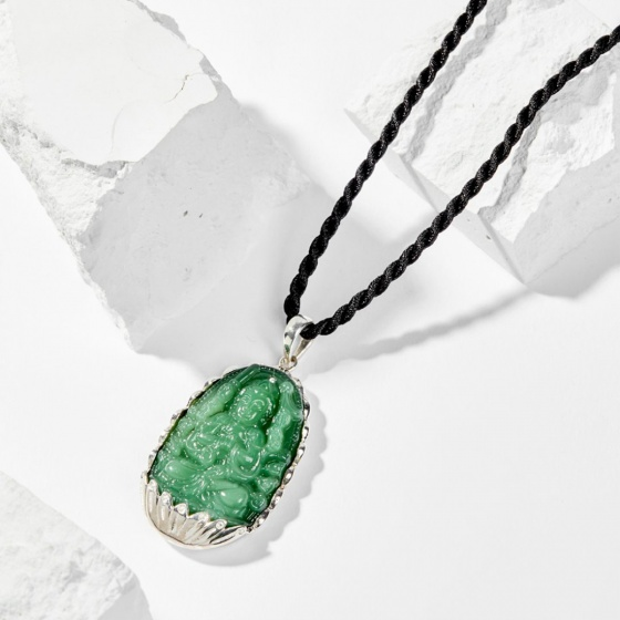 Dây chuyền phong thủy đá ngọc tủy xanh thiên thủ thiên nhãn bồ tát tuổi tý 4x2.5cm mệnh mộc - Ngọc Quý Gemstones