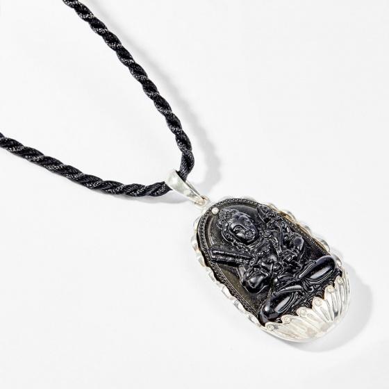 Dây chuyền phong thủy đá obsidian bọc bạc hư không tạng bồ tát tuổi sửu , dần 4x2.5cm mệnh thủy , mộc - Ngọc Quý Gemstones