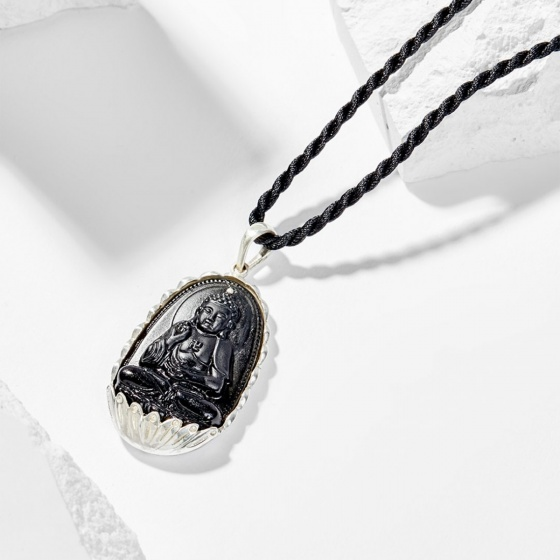 Dây chuyền phong thủy đá obisidian bọc bạc phật a di đà tuổi tuất , hợi 4x2.5cm mệnh thủy , mộc - Ngọc Quý Gemstone