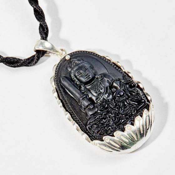 Dây chuyền phong thủy đá obsidian bọc bạc văn thù bồ tát tuổi mão 4x2.5cm mệnh thủy , mộc - Ngọc Quý Gemstones