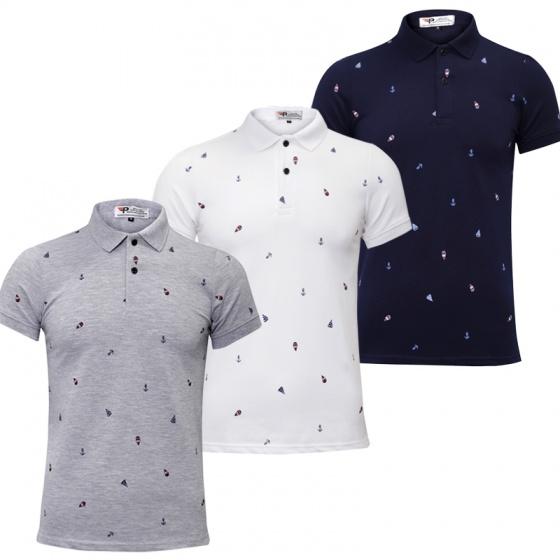 Bộ 3 áo thun nam Polo hoạ tiết cánh buồm pigofashion AHT01 xanh đen, trắng, xám