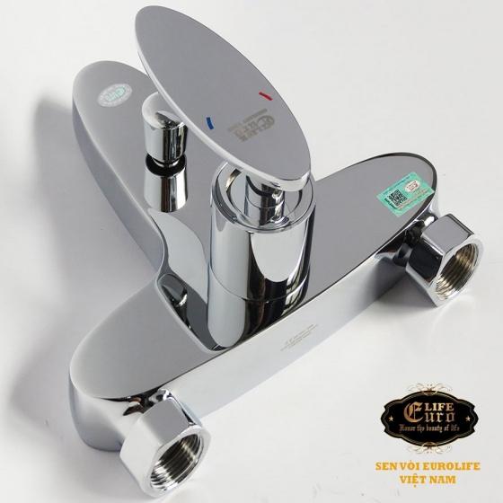Bộ vòi sen nóng lạnh đồng mạ Chrome Eurolife EL-CAM 01 (Trắng bạc)