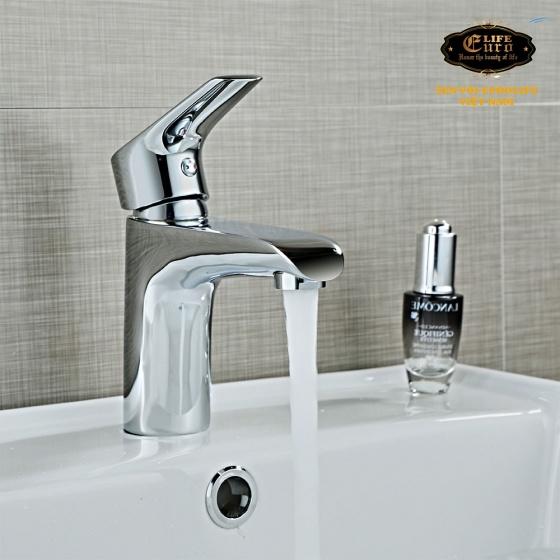 Vòi lavabo nóng lạnh đồng mạ Chrome Eurolife EL-AZA02 (Trắng bạc)