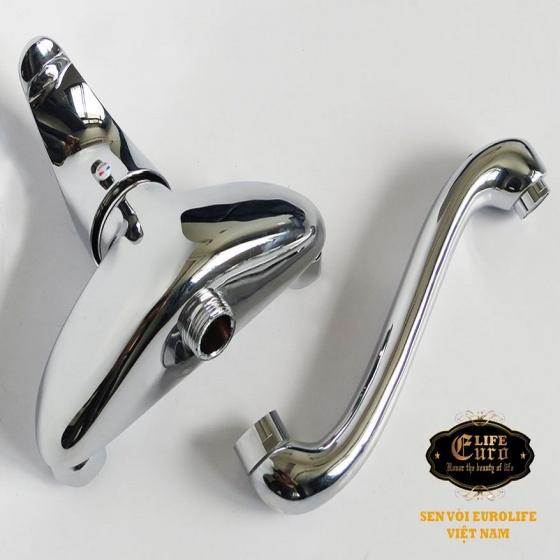 Vòi rửa chén âm tường nóng lạnh đồng mạ chrome Eurolife EL-T015AT (Trắng bạc)