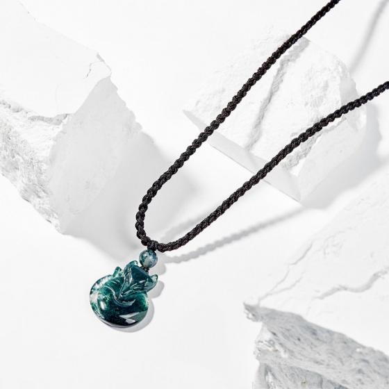 Dây chuyền phong thủy đá băng ngọc thủy tảo cửu vỹ hồ ly 2.8cm mệnh hỏa , mộc - Ngọc Quý Gemstones