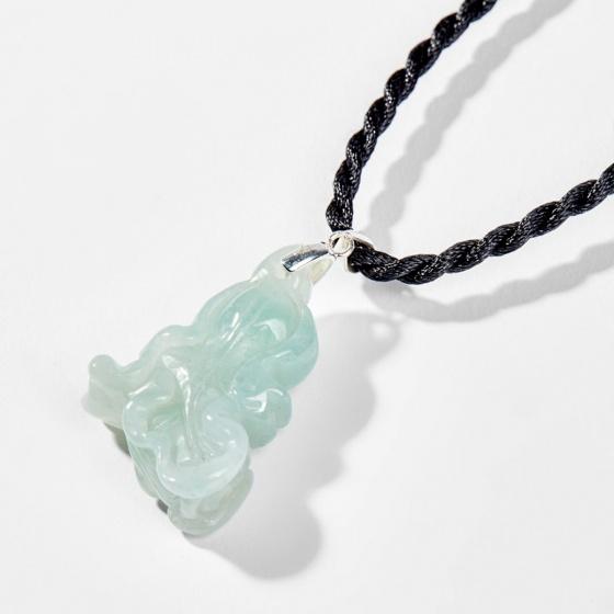 Dây chuyền phong thủy đá cẩm thạch phỉ thúy mặt bắp cải tài lộc 3.5cm mệnh mộc - Ngọc Quý Gemstones