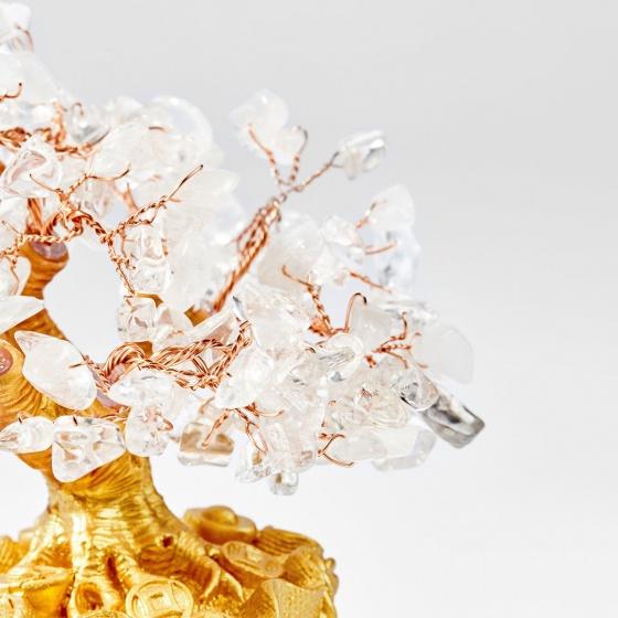 Cây tài lộc kết đá thiên nhiên trắng 20cm - Ngọc Quý Gemstones