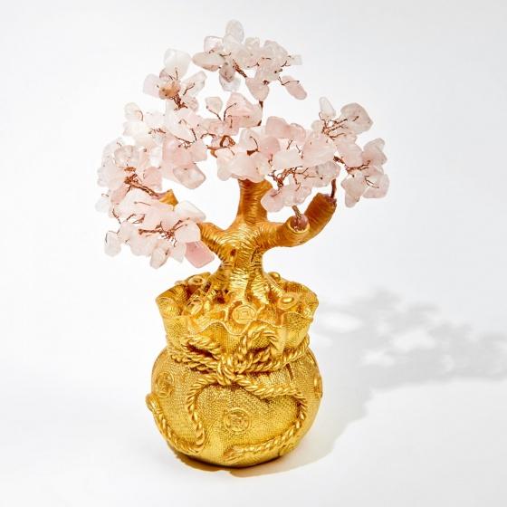 Cây tài lộc kết đá thiên nhiên hồng 16cm - Ngọc Quý Gemstones