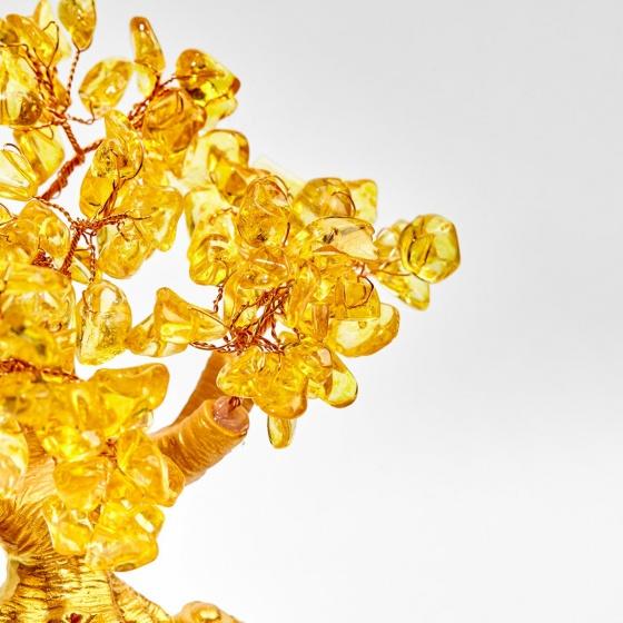 Cây tài lộc kết đá thiên nhiên vàng 16cm - Ngọc Quý Gemstones