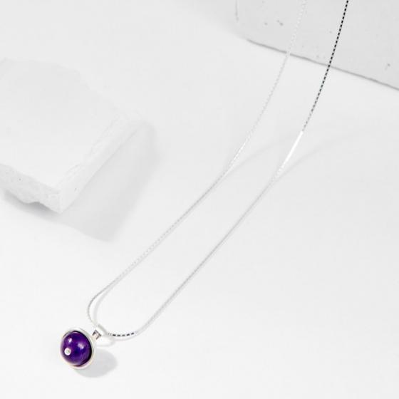 Dây chuyền đá thạch anh tím 1 hạt 8mm - Ngọc Quý Gemstones
