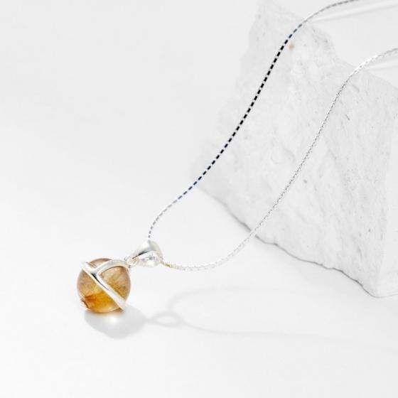 Dây chuyền thạch anh tóc vàng 1 hạt 8mm - Ngọc Quý Gemstones