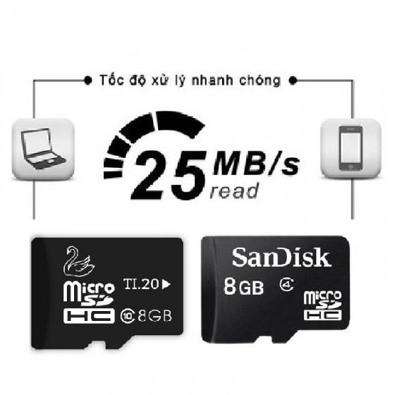 Combo 2 thẻ nhớ JVJ micro SDHC 8G C10 + Thẻ nhớ Sandisk ultra micro SDHC 8GB C4