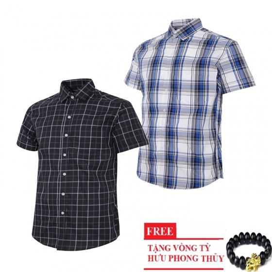 Bộ 2 áo sơ mi ngắn tay sọc caro thời trang SMC2214