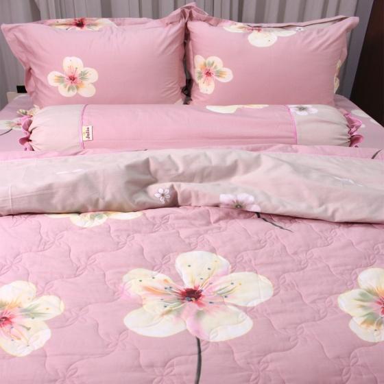 Bộ chăn ga gối 5 món cotton satin Hàn Julia 404BG16