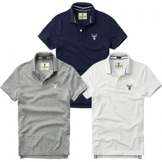 Bộ 3 áo thun nam cổ bẻ basic chuẩn mọi lứa tuổi pigofashion PG01 trắng, xám, xanh đen