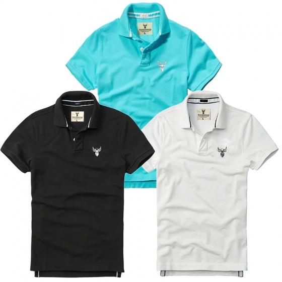 Bộ 3 áo thun nam cổ bẻ basic chuẩn mọi lứa tuổi pigofashion PG01 biển, đen, trắng