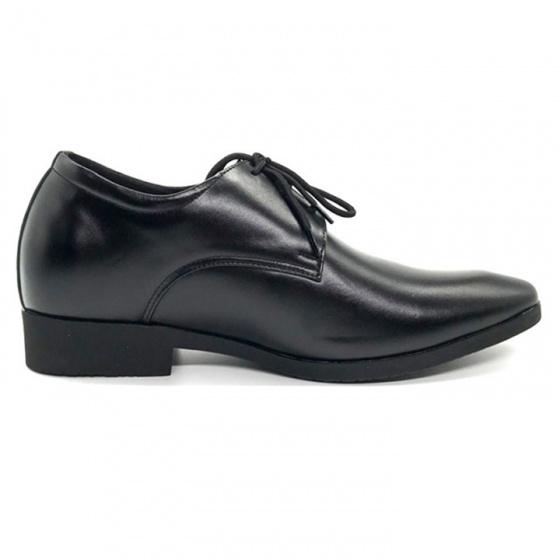 Giày công sở tăng chiều cao nam tăng cao 6cm da bò nguyên tấm Lucacy N2101BD(đen)-Tặng tất khử mùi