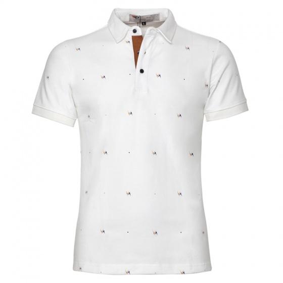 Áo thun nam cổ bẻ hoạ tiết Pigofashion AHT10 màu trắng