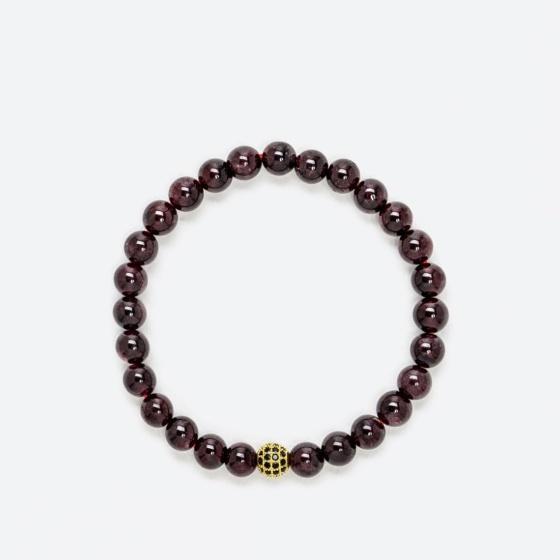 Vòng tay phong thủy đôi đá garnet mix charm xi vàng 6mm mệnh hỏa , thổ - Ngọc Quý Gemstones