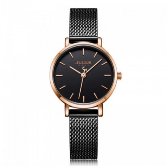Đồng hồ nữ dây kim loại chính hãng Julius Hàn Quốc JA-1164LE đen